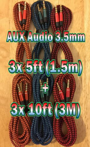 6x LOT 3.5mm AUXILIARY CORD Male to Male Audio Cable AUX MIX 3x 5ft + 3x 10ft