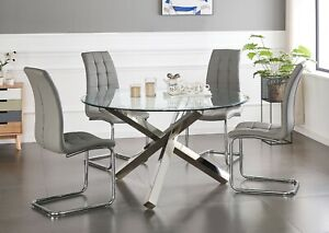 Vogue Large Round Chrome Clear Glass 4 6 Seater Dining Table And Leather Chairs Ebay