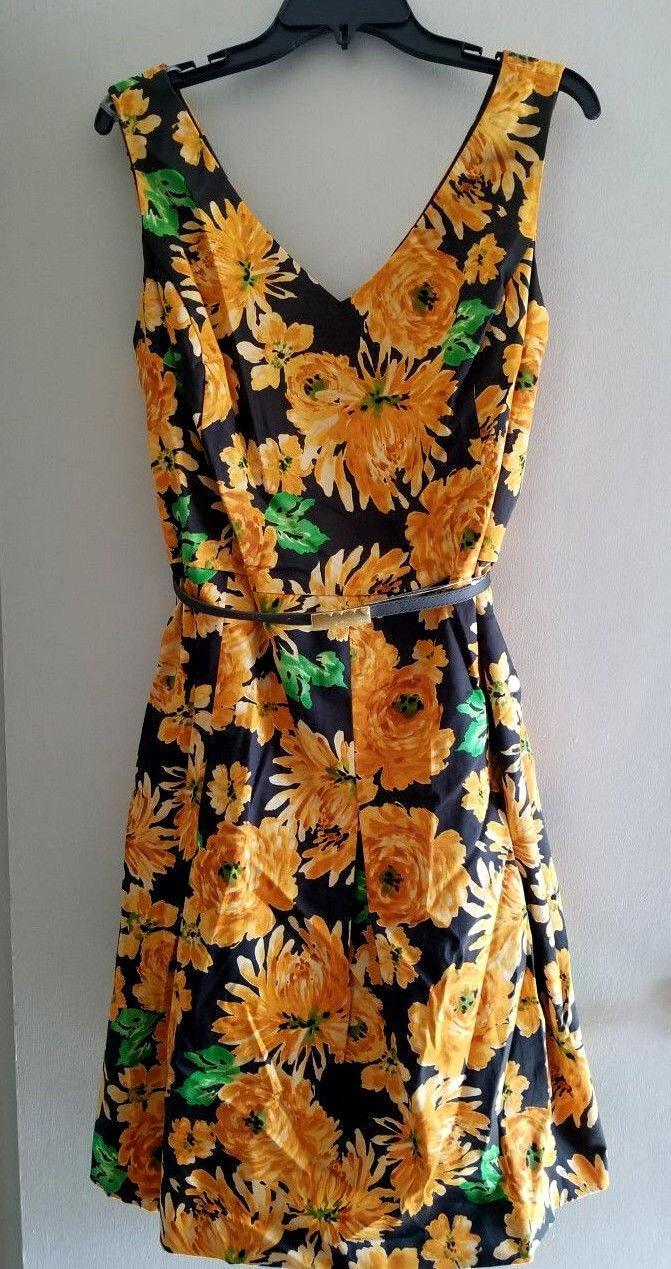 JONES New York Yellow Sunflower Floral Fit & Flare Dress Belt PLUS SIZE 16 NWT