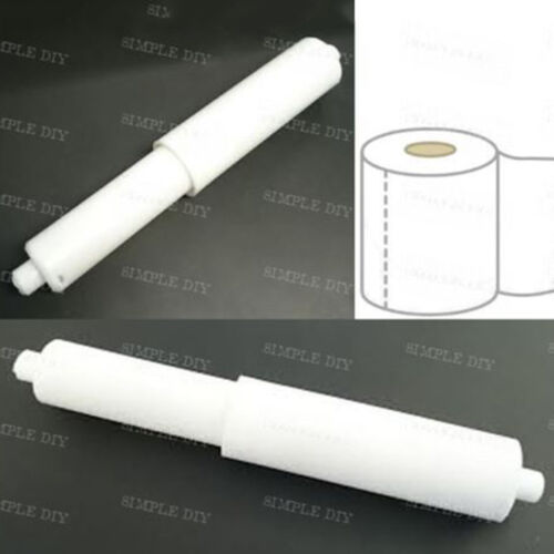 1X White Plastic Replacement Toilet Roll Holder Roller Insert Spindle Spring