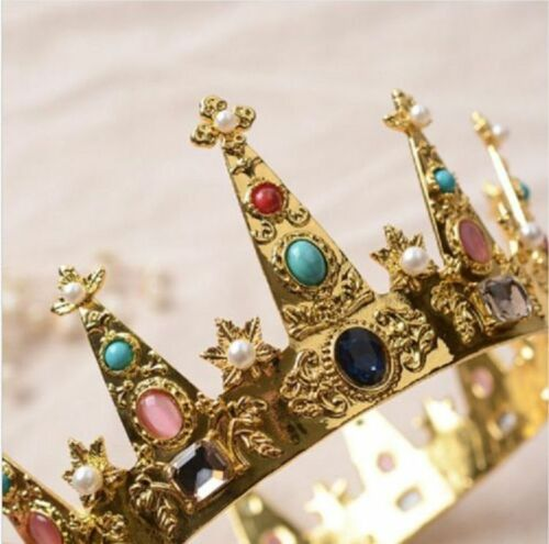 Details about  /Royal Baroque Pearl Evil Crown Headband Elf Fairy Queen King Wedding Cosplay