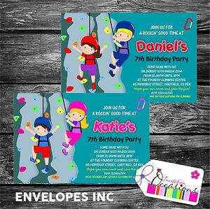 Image Is Loading Personalised Birthday Invitations Rock Climbing Wall Party X