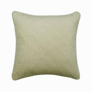Luxury 22x22 inch Quilted Geometric Ivory Velvet Pillow Cover - Diamond Ivory