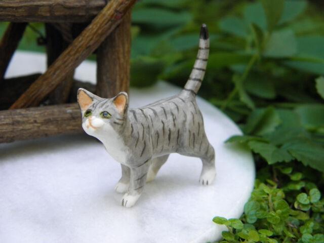 Miniature Dollhouse FAIRY GARDEN Accessories ~ Standing Gray Cat ~ NEW
