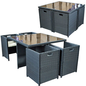 rattan garden furniture set 4 person outdoor patio dining wicker rh ebay ie outdoor cube chair cube garden furniture cover