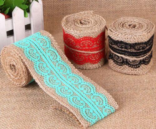2M Natural Jute Burlap Hessian Rustic Ribbon Mixed color Lace Trim Wedding Decor