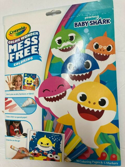 2 Crayola Baby Shark Color Wonder Mess Coloring 5 Markers ...