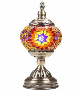 Handmade-Stained-Glass-Mosaic-Bead-Electric-Table-Lamp-Light-Turkish-Moroccan
