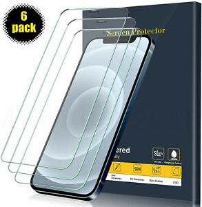 6-PACK-For-iPhone-12-11-Pro-Max-XR-X-XS-8-7-6-Tempered-GLASS-Screen-Protector