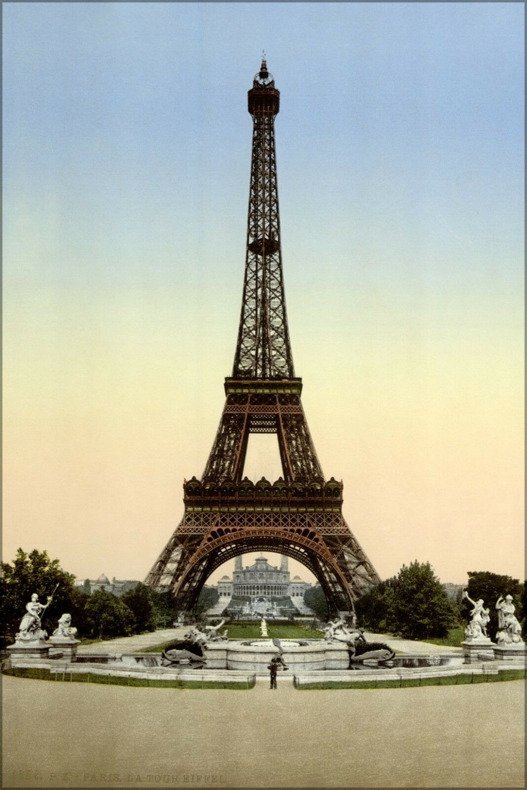 Eiffel Tower at Dusk Poster Beauty Lights France Paris Blue sky Staple Piece