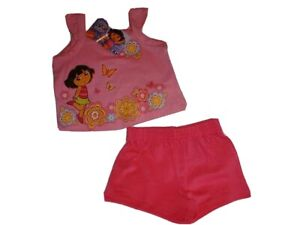 DORA-THE-EXPLORER-Outfit-Hot-Pink-Shorts-amp-Floral-Pink-Glitter-Top-Girl-039-s-2T-NWT