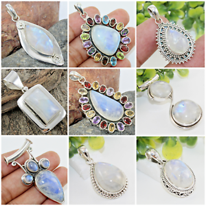 Rainbow Moonstone Pendant 925 Sterling Silver Handmade Jewel Woman Gift Artisan Perikles Greece