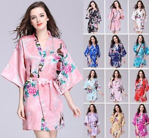 4d49888680 Image is loading New-Silk-Satin-Peacock-Robe-Kimono-Bridesmaid-Dressing-