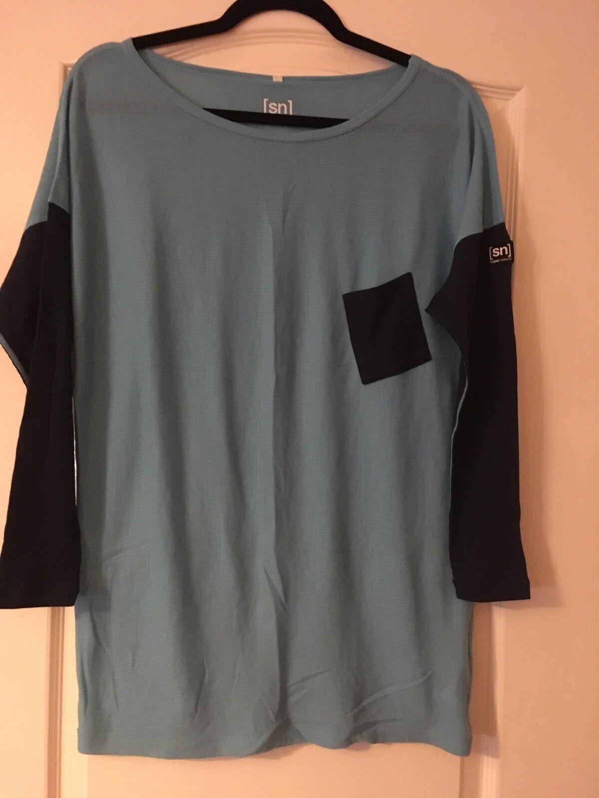 Super. natural W damen Long Sleeve Sleeve Sleeve Merino Ls 165 Medium BNWT Pale Blau   Ocean d8cc82