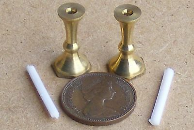 1:12 Scale 2 White Candles & Metal Candlesticks Dolls House Miniature Lights FBw