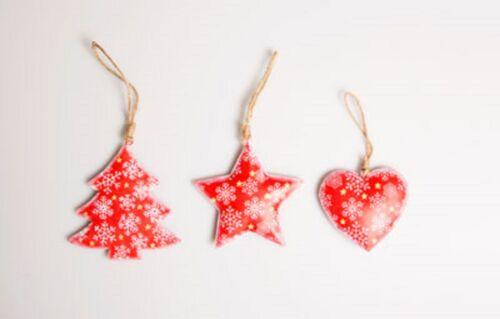 Vintage Distressed Metal Christmas Hanging Decorations Angel Tree Heart Stars