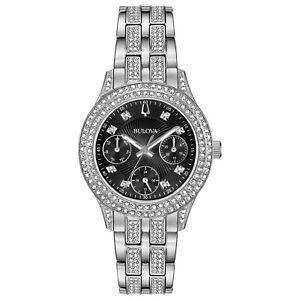 Bulova Women's Quartz Swarovski Crystal Silver-Tone Black Dial 33mm Watch 96N110