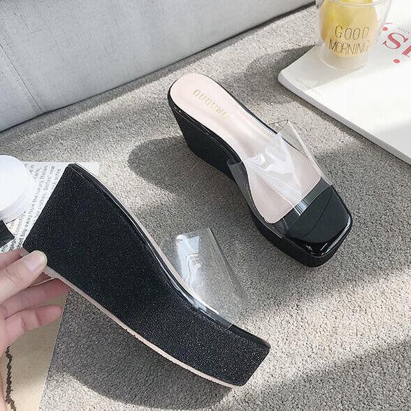 Sandale eleganti sabot zeppa ciabatte 9 nero comodi  simil pelle eleganti 9809