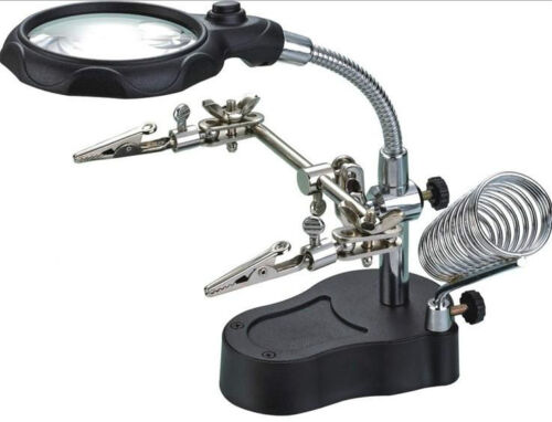 LED Magnifying Glass Magnifier Soldering Iron//Station Stand Helping Hand Clip
