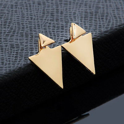 New Fashion Women Gold/Silver Plated Asymmetric Triangle Earrings Ear Stud Gift