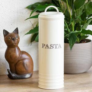 Tall-Retro-Cream-Enamel-Pasta-Jar-Spaghetti-Storage-Canister-Food-Container