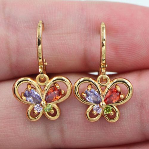 18K Gold Filled Femmes Multi-couleur zircon Topaze Flying papillon Boucles d/'oreilles Bijoux