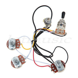 electric guitar wiring harness kit 3 way toggle switch 2 volume 1 tone 500k ebay. Black Bedroom Furniture Sets. Home Design Ideas