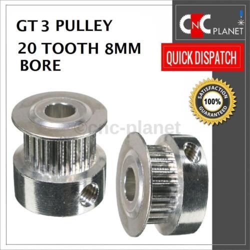 GT3//3GT TIMING puleggia 20 denti per Cintura Larga 6mm 6.35 o 8mm Foro CNC 3D Print