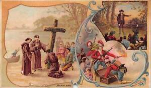 ARBUCKLE COFFEE TRADE CARD~#14 MARYLAND~US STATES & TERRITORIES (DAMAGED)