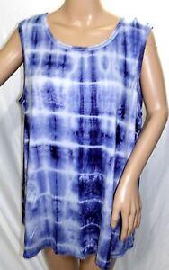 3365e400f5b B.L.E.U. Women Plus Size 2x Blue White Tie Dye Tee T Shirt Top ...