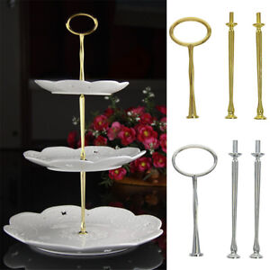 Image is loading 3-Tier-Cake-Cupcake-Plate-Stand-Party-Metal- & 3 Tier Cake Cupcake Plate Stand Party Metal Handle Hardware Rod ...