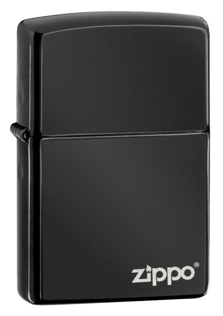 Zippo 24756ZL, Logo, Black Ebony Finish Lighter, **6 Extra Flints & Wick**