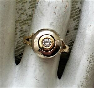 Vintage 14K Yellow White Two Tone Gold Bezel Set 0.25CT Diamond Solitaire Ring
