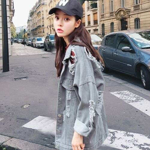 Korean Womens Loose Oversize BF Style Ripped Hole Gray Denim Jeans Jacket Slim Q
