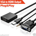 VGA Male To HDMI Output 1080P HD+Audio TV AV HDTV Video Cable Converter Adapter