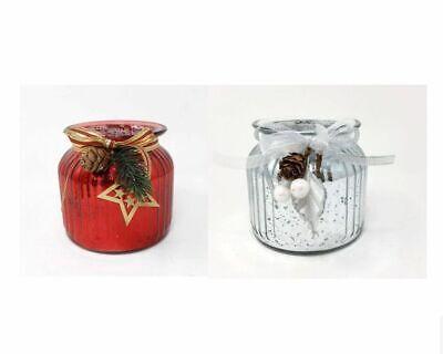 Ribbed Glass Vase x 11cm Christmas Decorative Gift Flower Table Jar