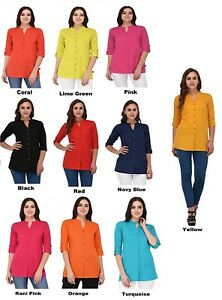 UK-sizes-8-22-Indian-Women-Kurti-Kurta-Solid-Short-Tunic-Plain-Top-Shirt-Dress