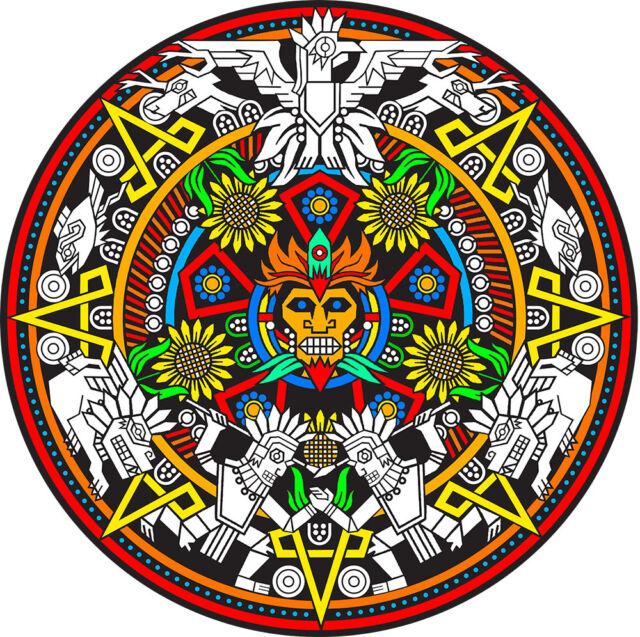 Mayan Mandala - Large 20x20 Inch Fuzzy Velvet Coloring Poster