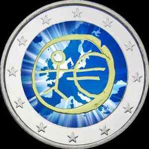 2-Euro-Gedenkmuenze-BRD-Deutschland-2009-EMU-WWU-coloriert-Farbe-Farbmuenze