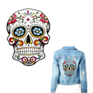 Big-White-Sugar-Skull-Heat-Transfer-Iron-On-Patch-Badge-Cloth-Jeans-Fabric-Craft