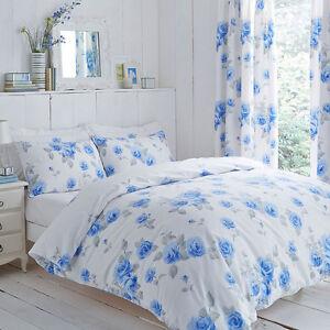 En-polycoton-fond-blanc-avec-rose-bleue-design-ensemble-de-couette-et-ou-rideaux
