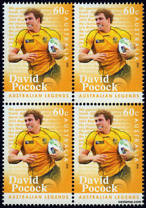 2012-Australian-Legends-David-Pocock-SG3702-Block-of-Four-MUH-Mint-Stamps-Rugby