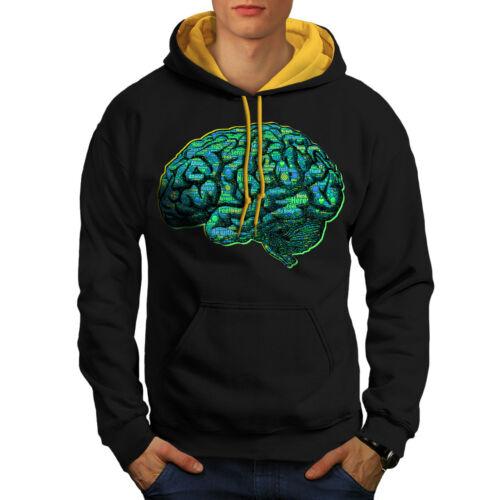 Wellcoda Human Brain Scan Mens Contrast Hoodie Organ Casual Jumper