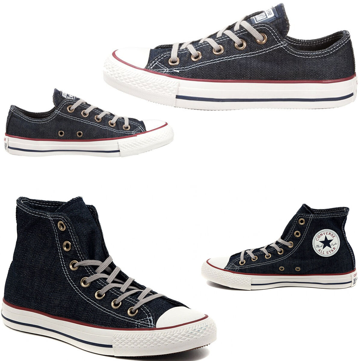 Chaussures  CONVERSE DENIM JEANS HIGH ALL STAR CHUCK TAYLOR SNEAKERS MAN WOMAN LOW