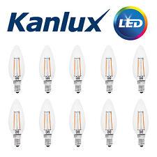 10x Kanlux FILAMENT LED 2W 200Lm Candle Light Bulb Lamp 2700K Warm White E14 SES