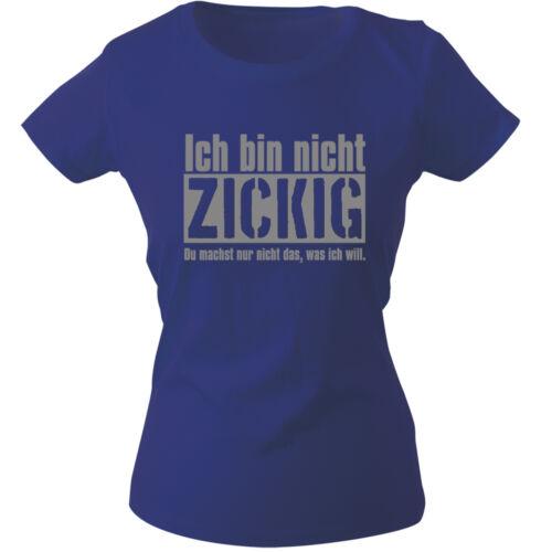 Girly T-Shirt S M L Xl Xxl Damen Motiv Shirts ich bin nicht zickig 12618 blau