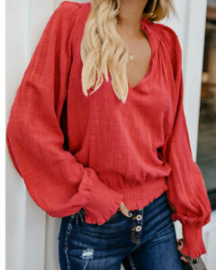 Women-039-s-Wooden-Ear-Pleated-National-Wind-T-Shirt-Long-Sleeve-Loose-V-Neck-Tops