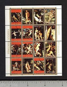 Ajman-Famous-Nude-Paintings-mini-sheet-of-16-stamps-CTO-Birth-of-Venus