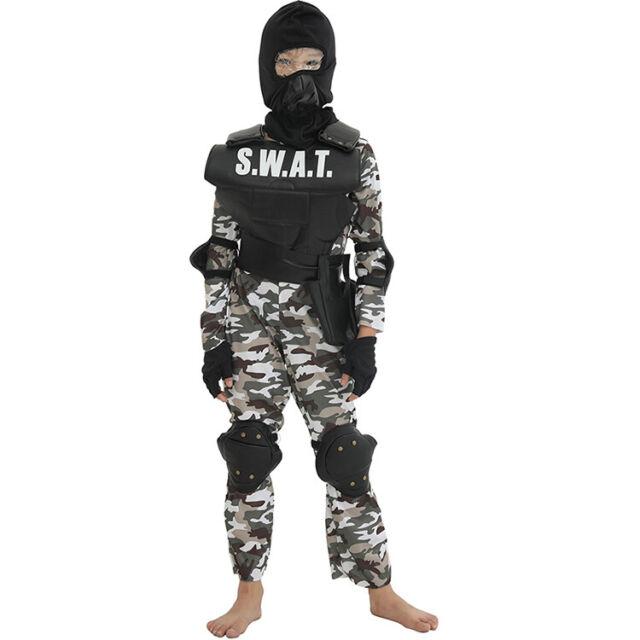Swat Costume Einsatzkommando Kids Vest Childrens Fancy Dress