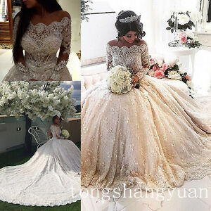 Image Is Loading Luxury Beading Bling Wedding Dress Long Sleeve Cathedral